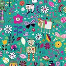 Electric Dreams - pink and turquoise - floral robot fun pattern by Cecca Designs by Cecca-Designs