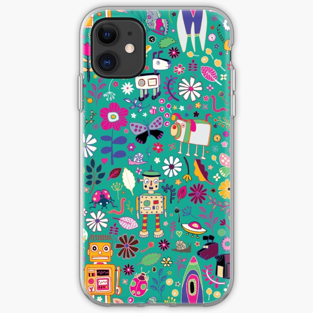 Electric Dreams - pink and turquoise - floral robot fun pattern by Cecca Designs iPhone Case & Cover