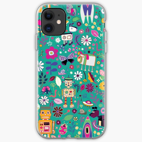 Electric Dreams - pink and turquoise - floral robot fun pattern by Cecca Designs iPhone Soft Case
