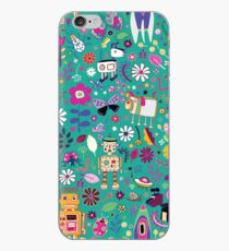 Electric Dreams - pink and turquoise - floral robot fun pattern by Cecca Designs iPhone Case
