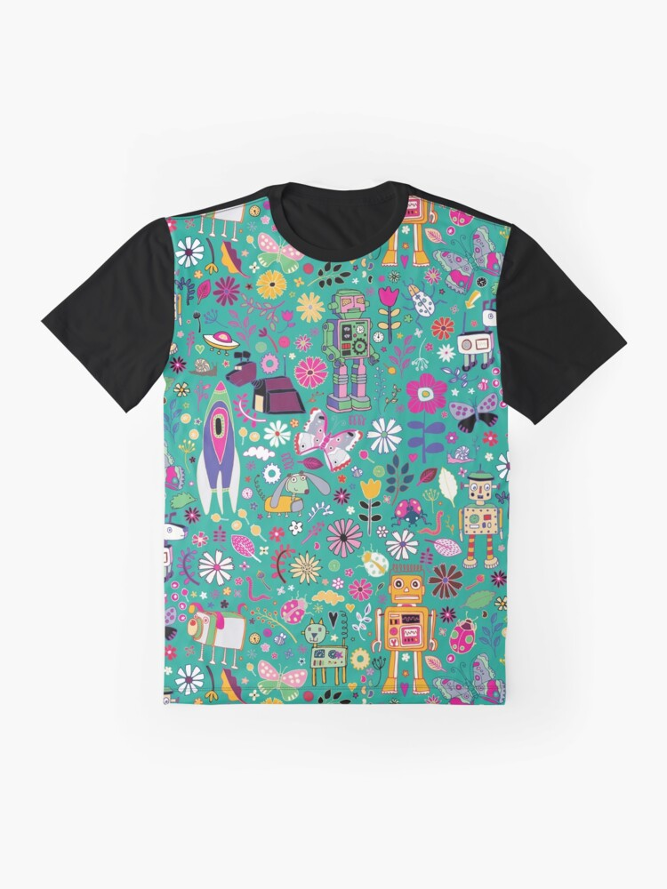 Alternate view of Electric Dreams - pink and turquoise - floral robot fun pattern by Cecca Designs Graphic T-Shirt