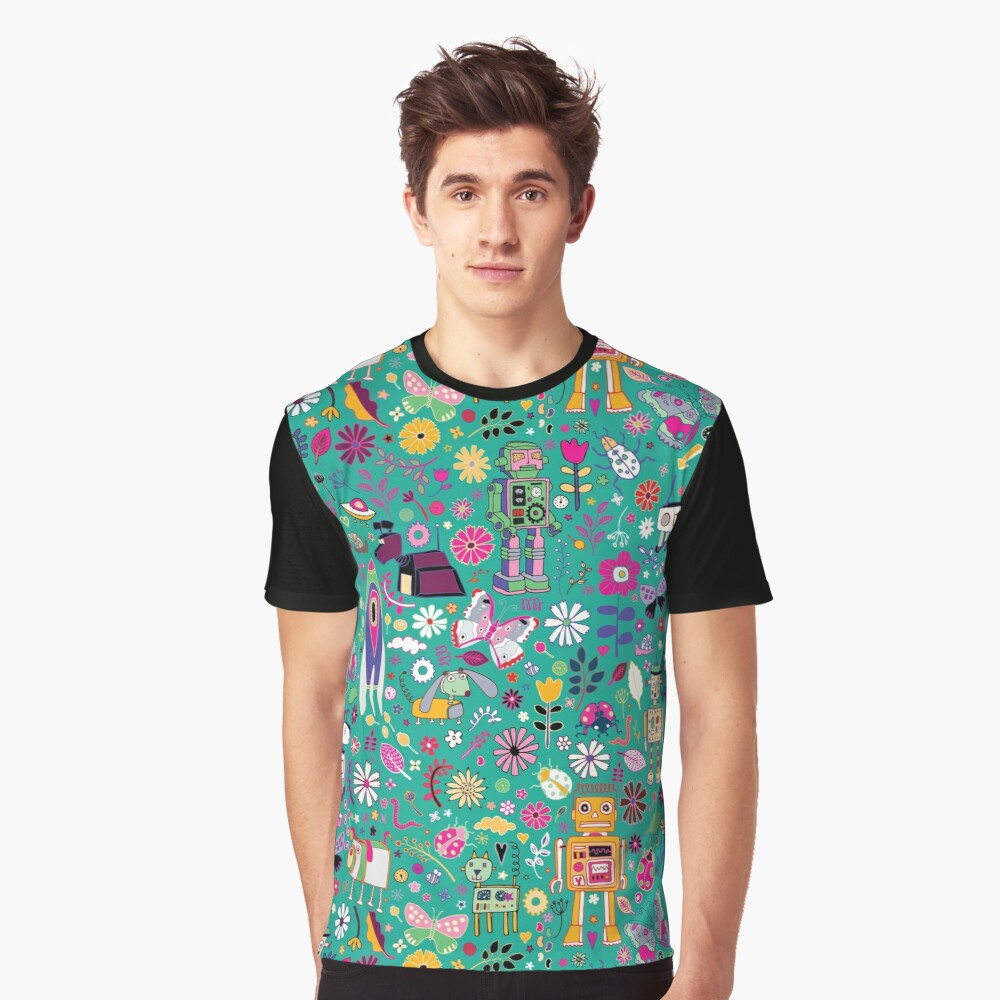 Electric Dreams - pink and turquoise - floral robot fun pattern by Cecca Designs Graphic T-Shirt