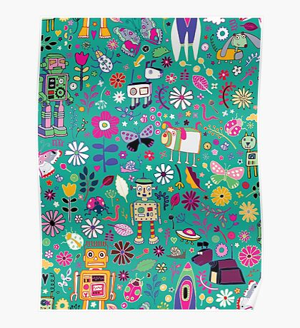 Electric Dreams - pink and turquoise - floral robot fun pattern by Cecca Designs Poster