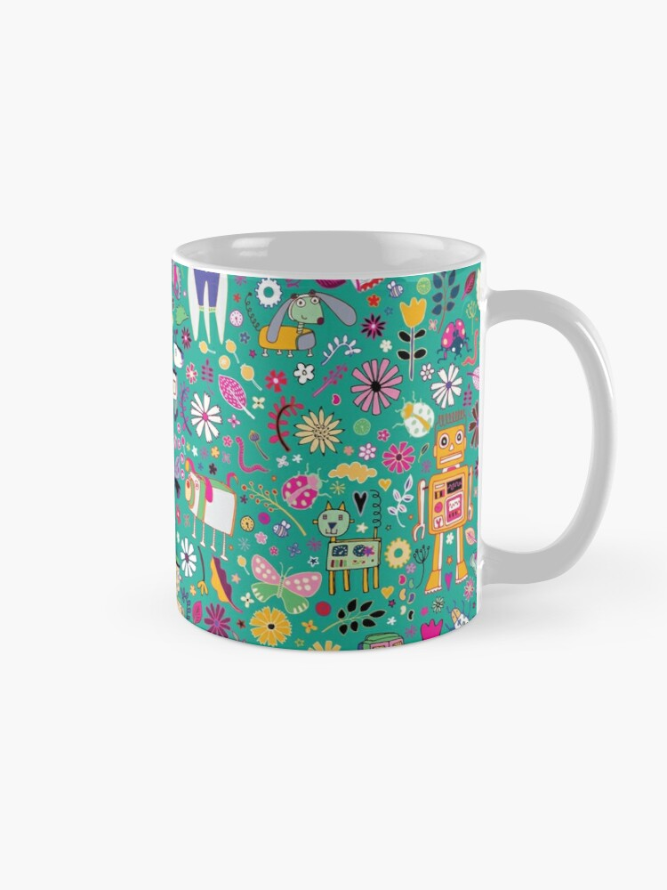 Alternate view of Electric Dreams - pink and turquoise - floral robot fun pattern by Cecca Designs Mug