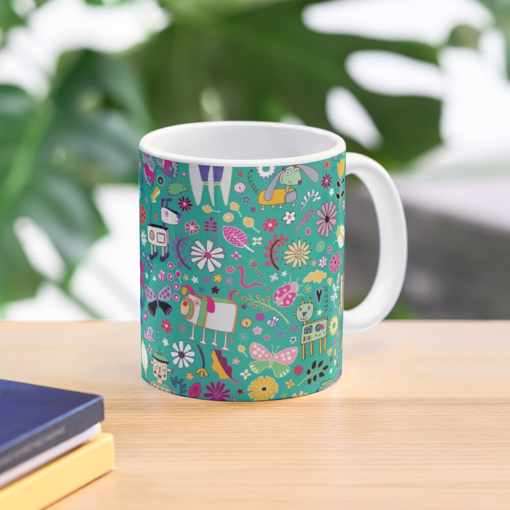 Electric Dreams - pink and turquoise - floral robot fun pattern by Cecca Designs Mug