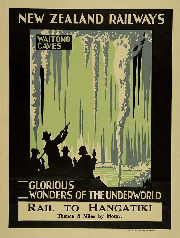 Vintage poster - Waitomo Caves by mosfunky