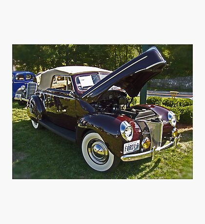 1940 Ford Convertable Classic with Rhode Island registration plates. Photographic Print