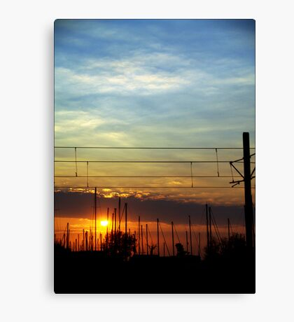 Sunset at the pier Canvas Print