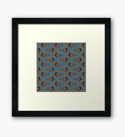 Blue Brown War Horse Framed Print