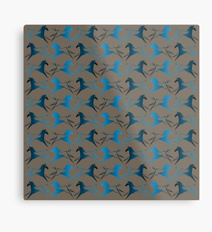 Blue Brown War Horse Metal Print