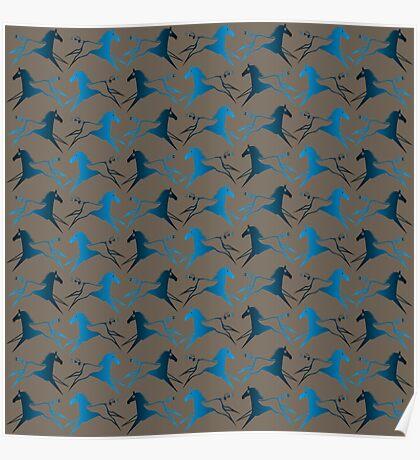 Blue Brown War Horse Poster