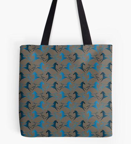 Blue Brown War Horse Tote Bag