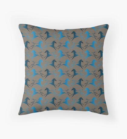 Blue Brown War Horse Throw Pillow