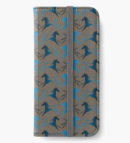 Blue Brown War Horse iPhone Wallet