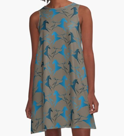 Blue Brown War Horse A-Line Dress