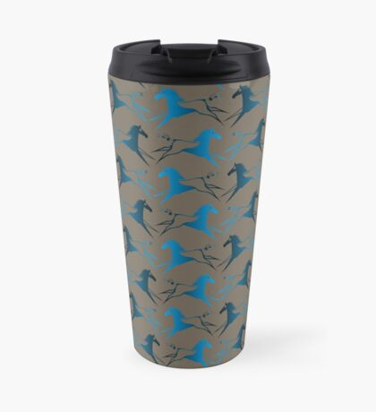 Blue Brown War Horse Travel Mug