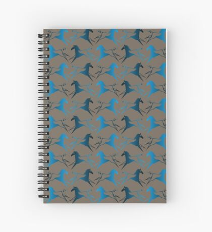 Blue Brown War Horse Spiral Notebook