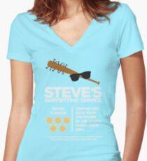 Steve's Babysitting Service Women's Fitted V-Neck T-Shirt