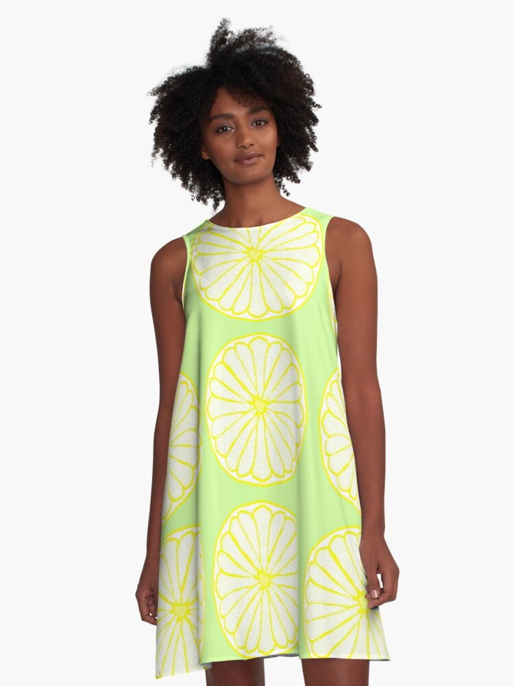 Lovely Lemon on Lime A-Line Dress Front