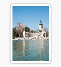 Monument of Alfonso XII on the boating lake, Parque del Buen Retiro (Retiro Park), Madrid, Spain Sticker