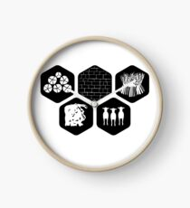 Settlers of Catan Resources (Black/White) Clock