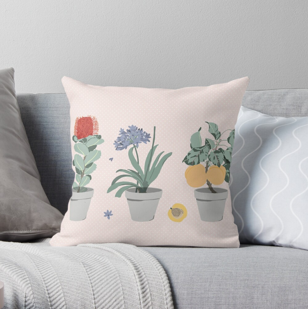 Potted Botanicals  Throw Pillow