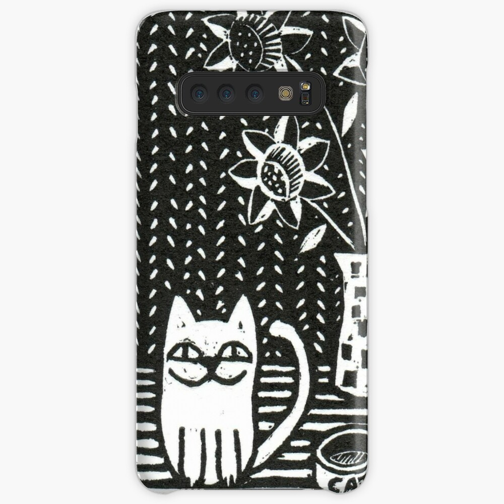Happy Cat - Original Wood engraving by Francesca Whetnall Case & Skin for Samsung Galaxy
