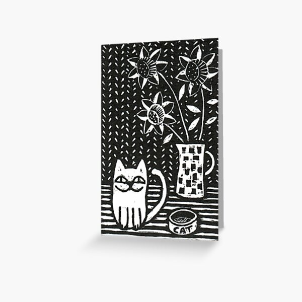 Happy Cat - Original Wood engraving by Francesca Whetnall Greeting Card