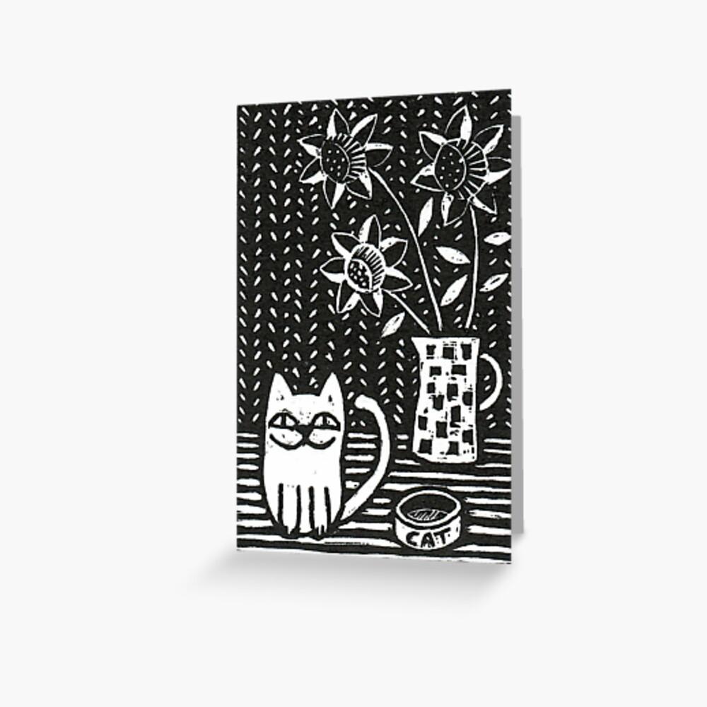 Happy Cat - Original Wood engraving by Francesca Whetnall Greeting Card