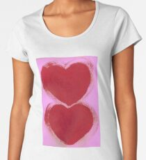 Double Hearts in Rouge Red on Pretty Pink Women's Premium T-Shirt