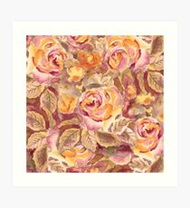 Watercolor Hand-Painted Red Yellow Autumn Fall Roses Art Print