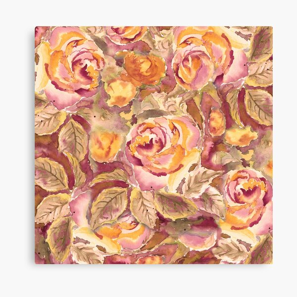 Watercolor Hand-Painted Red Yellow Autumn Fall Roses Canvas Print