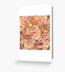 Watercolor Hand-Painted Red Yellow Autumn Fall Roses Greeting Card