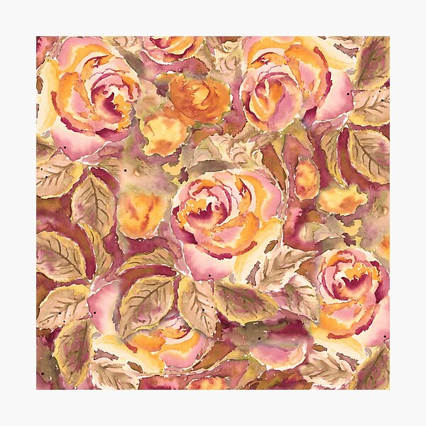Watercolor Hand-Painted Red Yellow Autumn Fall Roses Photographic Print