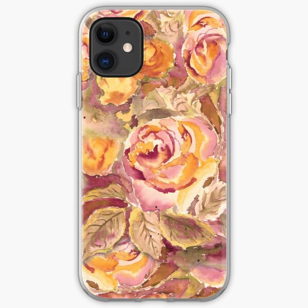 Watercolor Hand-Painted Red Yellow Autumn Fall Roses iPhone Soft Case