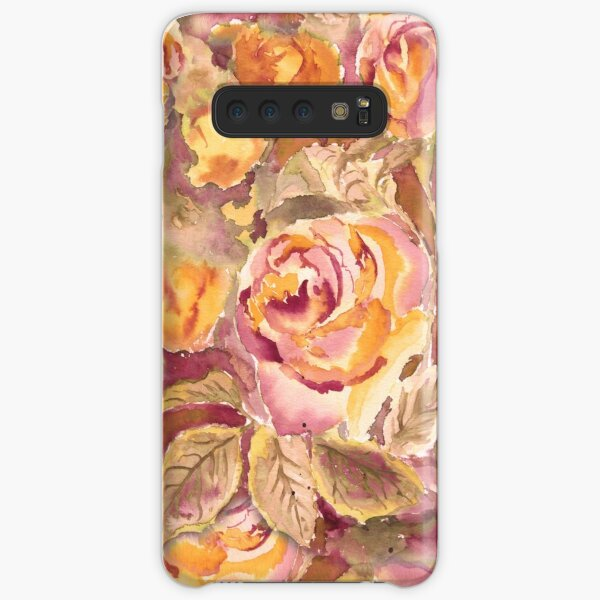 Watercolor Hand-Painted Red Yellow Autumn Fall Roses Samsung Galaxy Snap Case