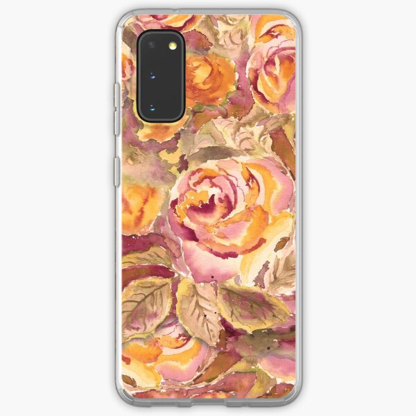 Watercolor Hand-Painted Red Yellow Autumn Fall Roses Samsung Galaxy Soft Case