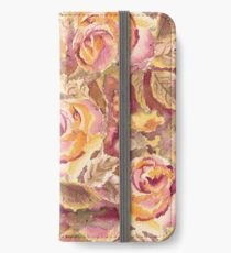 Watercolor Hand-Painted Red Yellow Autumn Fall Roses iPhone Wallet/Case/Skin