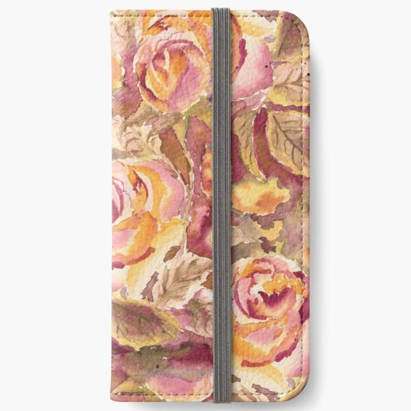 Watercolor Hand-Painted Red Yellow Autumn Fall Roses iPhone Wallet