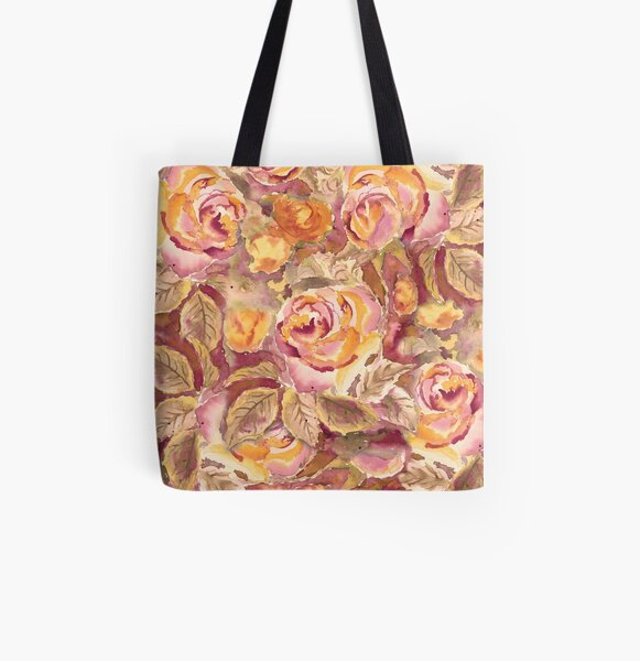 Watercolor Hand-Painted Red Yellow Autumn Fall Roses All Over Print Tote Bag