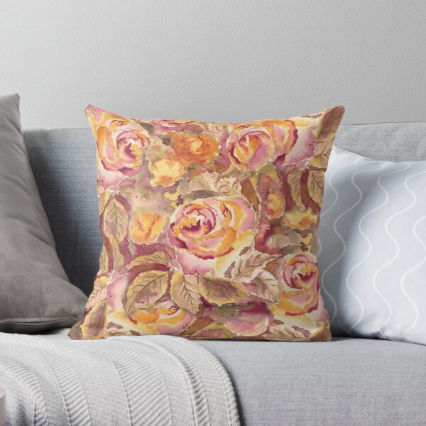 Watercolor Hand-Painted Red Yellow Autumn Fall Roses Throw Pillow