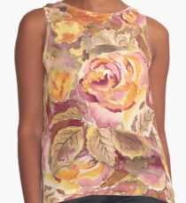 Watercolor Hand-Painted Red Yellow Autumn Fall Roses Sleeveless Top