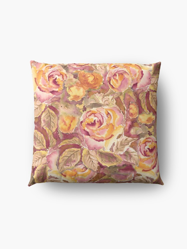 Alternate view of Watercolor Hand-Painted Red Yellow Autumn Fall Roses Floor Pillow