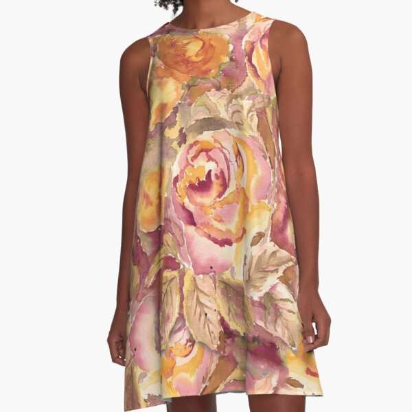 Watercolor Hand-Painted Red Yellow Autumn Fall Roses A-Line Dress