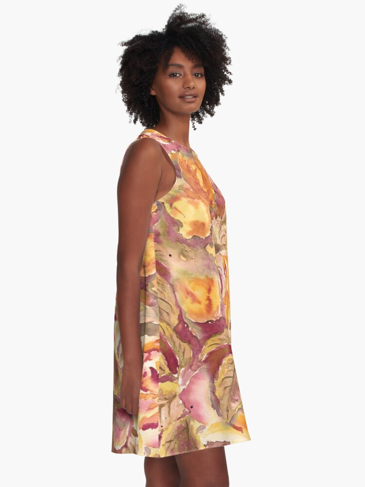 Alternate view of Watercolor Hand-Painted Red Yellow Autumn Fall Roses A-Line Dress