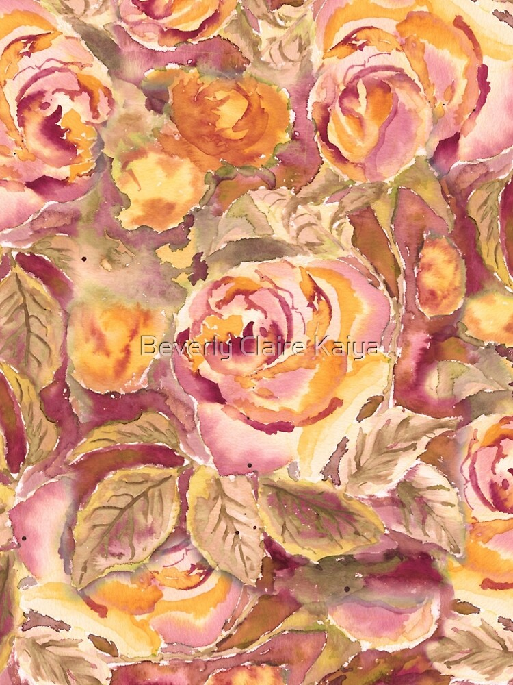 Watercolor Hand-Painted Red Yellow Autumn Fall Roses by beverlyclaire