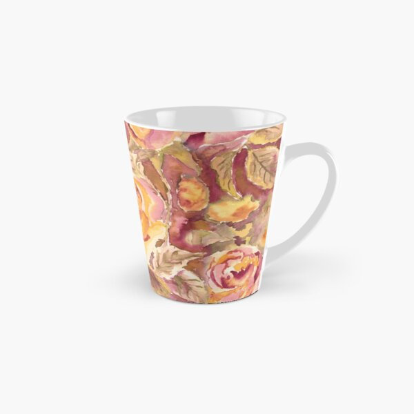 Watercolor Hand-Painted Red Yellow Autumn Fall Roses Tall Mug