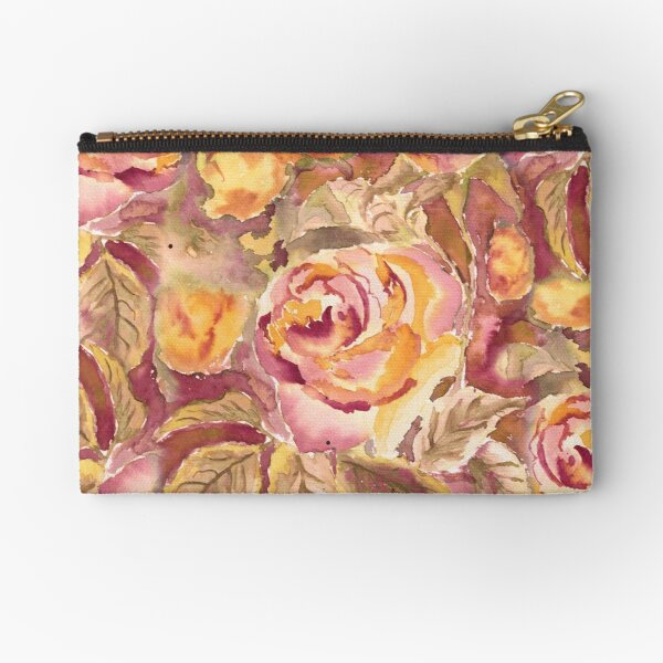 Watercolor Hand-Painted Red Yellow Autumn Fall Roses Zipper Pouch