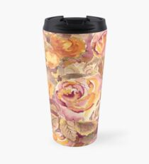 Watercolor Hand-Painted Red Yellow Autumn Fall Roses Travel Mug