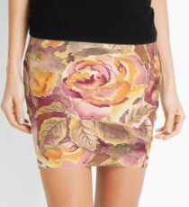 Watercolor Hand-Painted Red Yellow Autumn Fall Roses Mini Skirt